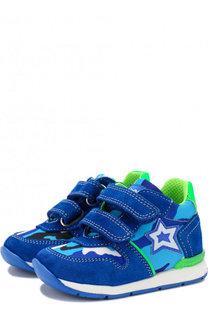 Замшевые кроссовки с текстильной отделкой и застежками велькро Falcotto