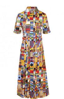 Приталенное хлопковое платье-рубашка с принтом Stella Jean