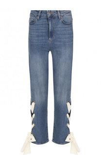 Укороченные джинсы с потертостями и контрастной шнуровкой Paige