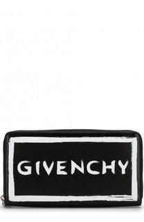 Кожаный кошелек на молнии с логотипом бренда Givenchy