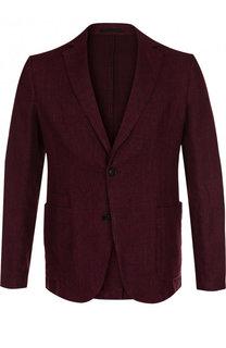 Однобортный пиджак из смеси хлопка и льна Z Zegna