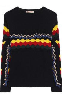 Хлопковый пуловер с контрастной отделкой Marni