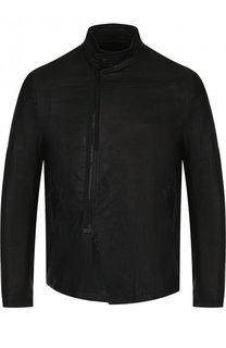 Кожаная куртка с косой молнией и воротником-стойкой Julius