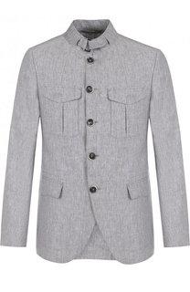 Льняная куртка на пуговицах с воротником-стойкой Baldessarini