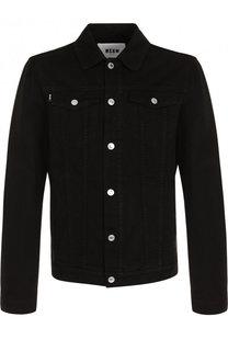 Джинсовая куртка с аппликацией на спине MSGM