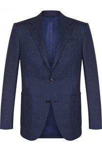 Однобортный пиджак из смеси шерсти и шелка Ermenegildo Zegna
