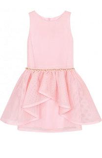 Приталенное мини-платье с декоративным поясом с жемчужинами David Charles