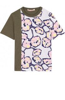 Хлопковая футболка с принтом Marni