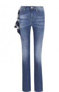 Расклешенные джинсы с потертостями и контрастной прострочкой Jacob Cohen