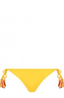 Плавки-бикини с бантами и контрастной бахромой Lazul