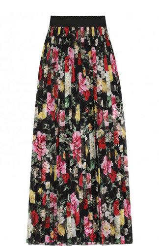 Плиссированная шелковая юбка-макси с принтом Dolce & Gabbana