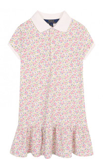 Хлопковое мини-платье с принтом Polo Ralph Lauren