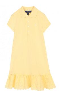 Хлопковое мини-платье с кружевной отделкой и оборкам Polo Ralph Lauren