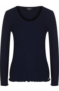 Однотонный приталенный пуловер с круглым вырезом DKNY