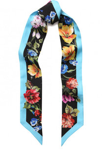 Шелковый шарф-бандо с цвточным принтом Dolce & Gabbana