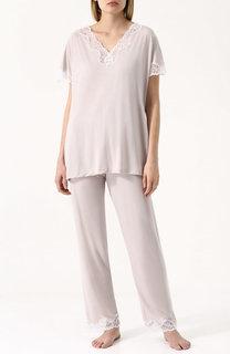Пижама из смеси вискозы и шелка с кружевной отделкой Zimmerli