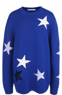 Удлиненный шерстяной пуловер с принтом в виде звезд Givenchy