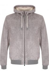 Замшевая куртка на молнии с капюшоном Z Zegna
