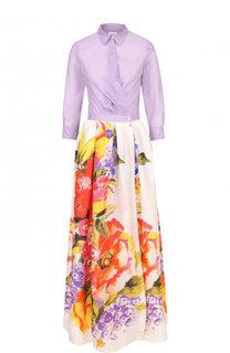 Приталенное платье-рубашка с принтованной юбкой sara roka