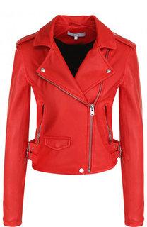 Однотонная кожаная куртка с косой молнией Iro