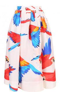 Шелковая юбка-миди с ярким принтом sara roka
