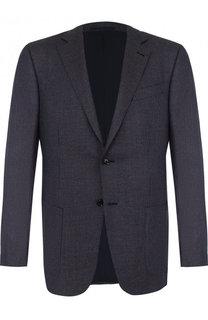 Однобортный пиджак из смеси шелка и льна с шерстью Ermenegildo Zegna