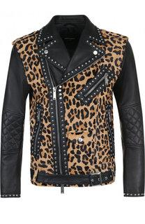 Кожаная куртка с заклепками и принтом Dsquared2