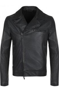 Кожаная куртка с косой молнией Giorgio Armani