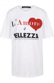 Хлопковая футболка свободного кроя с принтом Dolce & Gabbana