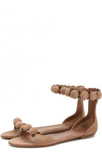 Замшевые сандалии с декором Alaia