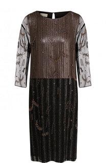 Шелковое платье свободного кроя с длинным рукавом Dries Van Noten