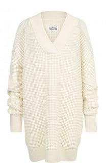 Пуловер фактурной вязки с V-образным вырезом Maison Margiela