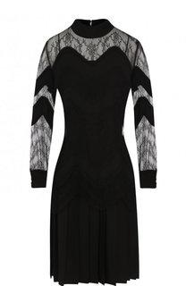 Мини-платье с юбкой в складку и кружевными вставками Valentino