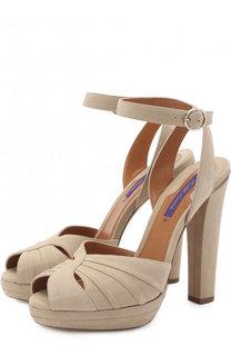 Замшевые босоножки на устойчивом каблуке Ralph Lauren
