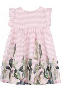 Хлопковое платье свободного кроя с принтом Il Gufo