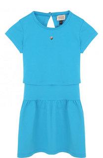 Хлопковое платье с декоративной спинкой Armani Junior
