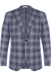 Однобортный пиджак из смеси хлопка и льна Sartoria Latorre