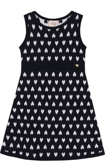 Приталенное мини-платье из хлопка с принтом Armani Junior