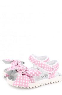 Кожаные сандалии с застежками велькро и бантом Simonetta