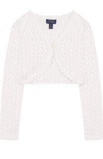 Хлопковое болеро фактурной вязки Polo Ralph Lauren