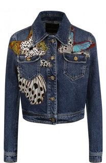 Укороченная джинсовая куртка с контрастной отделкой Roberto Cavalli