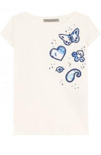 Хлопковая футболка с вышивкой и заклепками Ermanno Scervino
