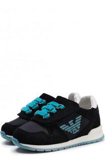 Замшевые кроссовки на шнуровке Armani Junior