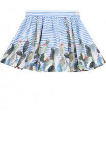 Хлопковая мини-юбка свободного кроя с принтом Il Gufo