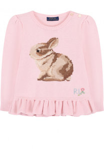 Пуловер из смеси хлопка и шерсти с принтом и баской Polo Ralph Lauren