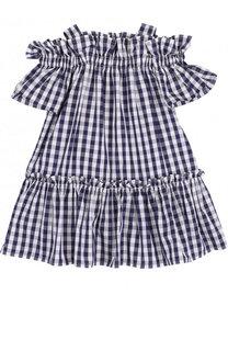 Хлопковое платье с открытыми плечами на широких бретельках Il Gufo