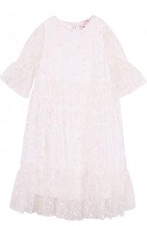 Хлопковое платье свободного кроя с прозрачной отделкой и вышивкой Il Gufo
