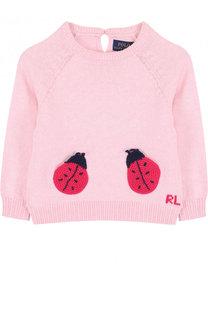 Хлопковый пуловер с аппликациями Polo Ralph Lauren