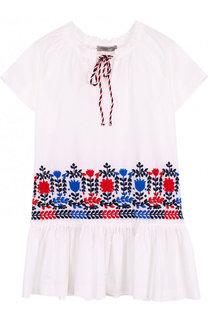 Хлопковое мини-платье свободного кроя с контрастной вышивкой Ermanno Scervino