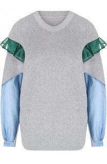 Хлопковый пуловер с контрастными вставками Sacai